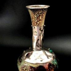 Antigüedades: JARRÓN DE PLATA DE LEY Y ESMALTES AL FUEGO SOBRE COBRE - AÑOS 70 . Lote 160328034