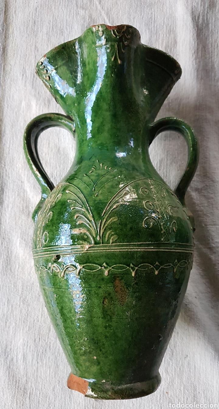 ANTIGUA JARRA DE VINO VIDRIADA VERDE UBEDA (Antigüedades - Porcelanas y Cerámicas - Úbeda)