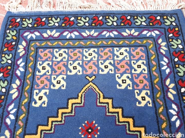 Antigüedades: Alfombra hecha a mano color azul - Foto 6 - 160360896
