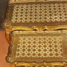 Antigüedades: JUEGO DE 3 MESAS AUXILIARES VENECIANAS. Lote 160430042