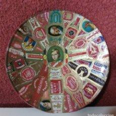 Antigüedades: CENICERO PLATO CRISTAL CON VITOLAS DE PUROS. Lote 160432366