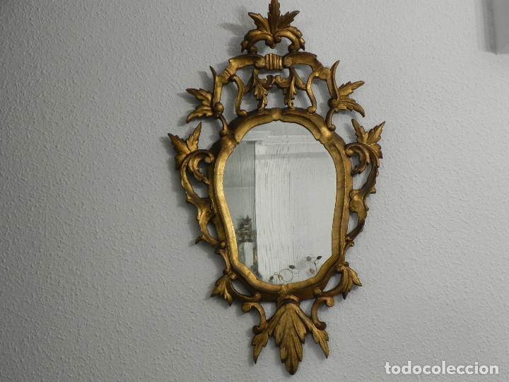 Antigüedades: ** ESPEJO CORNUCOPIA ANTIGUO EN MADERA TALLADA DORADA AL PAN DE ORO SIGLO XVIII / XIX ** - Foto 8 - 160468390