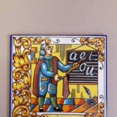 Antiquités: AZULEJO DECORADO FRASE AQUI VIVE UN MAESTRO.. Lote 160480404