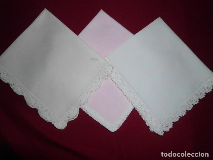 Antigüedades: lote pañuelos con remate ganchillo - Foto 3 - 160482938
