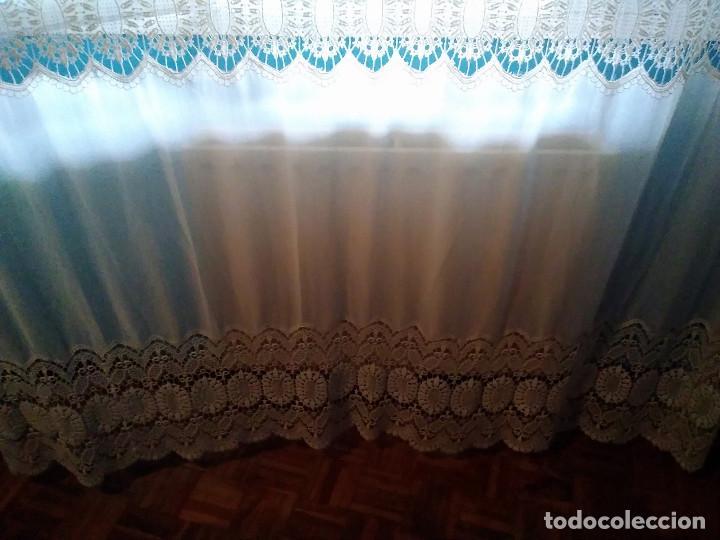 Antigüedades: 20-MARAVILLOSA CORTINA ANTIGUA CON FINO ENCAJE DE GUIPUR - Foto 18 - 160487530