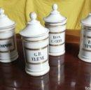 Antigüedades: CUATRO BOTES DE FARMACIA DEL SIGLO XIX. Lote 160488072