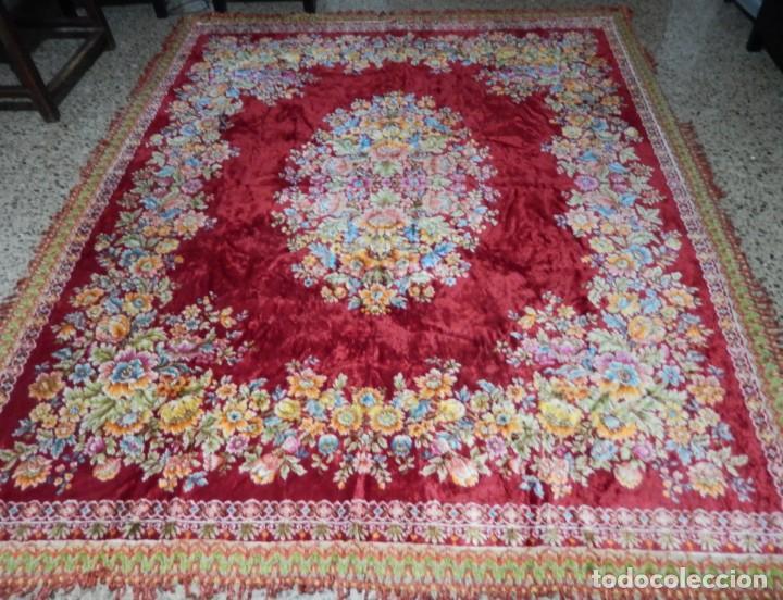 ALFOMBRA MOTIVOS FLORALES AÑOS 60. MEDIDAS: 185 X 240 CM. (Antiques - Home and Decoration - Old Carpets)
