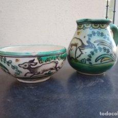 Antigüedades: LOTE DE 2 PIEZAS DE CERÁMICA PUENTE DEL ARZOBISPO. Lote 160559289