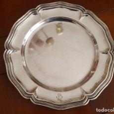 Antigüedades: PLATO, BAJOPLATO O BANDEJA REDONDA EN PLATA MACIZA DE LEY ESPAÑOLA – PLATA 916 – CONTRASTES VACHIER. Lote 160571526