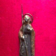 Antigüedades: ANTIGUA IMAGEN DE SAN JOSÉ REALIZADA EN PLOMO, PINTADA A MANO. S.XVIII.. Lote 160615338