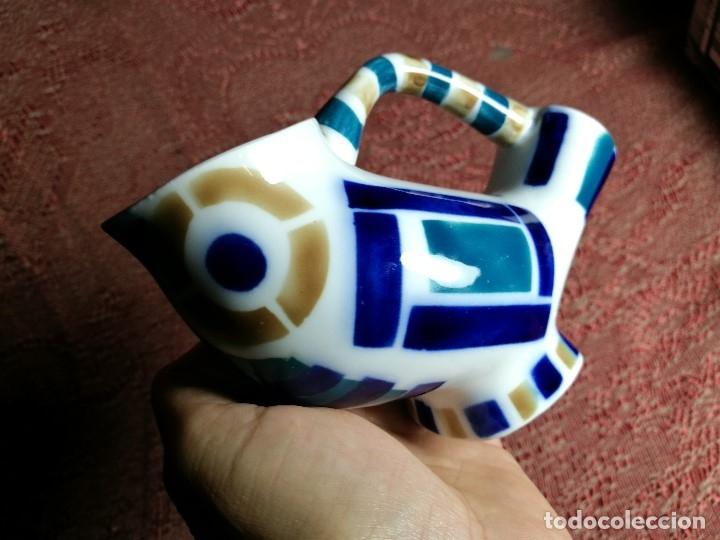 Antigüedades: Jarra forma coruxa lechuza buho de cerámica esmaltada Sargadelos siglo XX - Foto 2 - 160620446