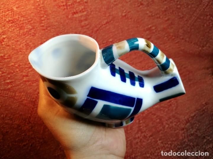 Antigüedades: Jarra forma coruxa lechuza buho de cerámica esmaltada Sargadelos siglo XX - Foto 5 - 160620446