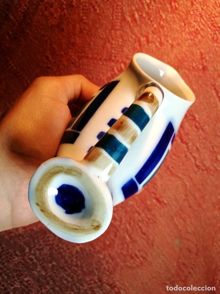 Antigüedades: Jarra forma coruxa lechuza buho de cerámica esmaltada Sargadelos siglo XX - Foto 8 - 160620446