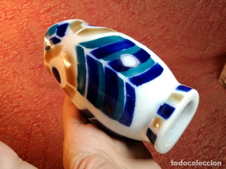 Antigüedades: Jarra forma coruxa lechuza buho de cerámica esmaltada Sargadelos siglo XX - Foto 7 - 160620446