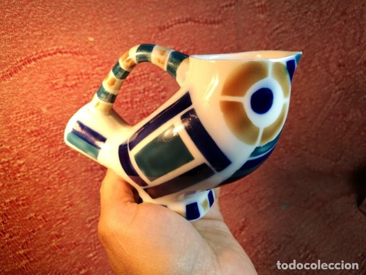 Antigüedades: Jarra forma coruxa lechuza buho de cerámica esmaltada Sargadelos siglo XX - Foto 12 - 160620446