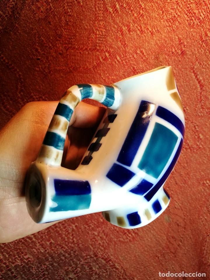 Antigüedades: Jarra forma coruxa lechuza buho de cerámica esmaltada Sargadelos siglo XX - Foto 10 - 160620446
