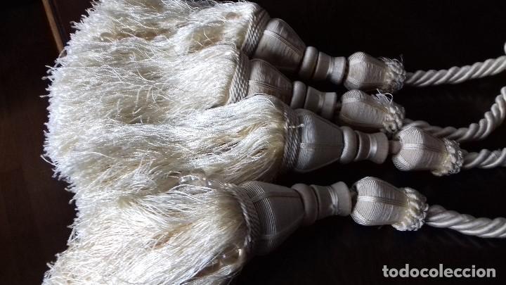 Antigüedades: DOS GRANDES RECOGECORTINA COLOR BEIG MARFIL. - Foto 4 - 160631114