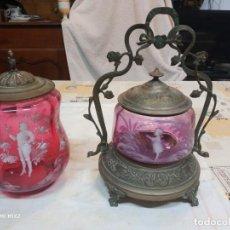 Oggetti Antichi: MARY GREGORY GALLETERA Y BOMBONERA SIGLO XIX. Lote 160633246