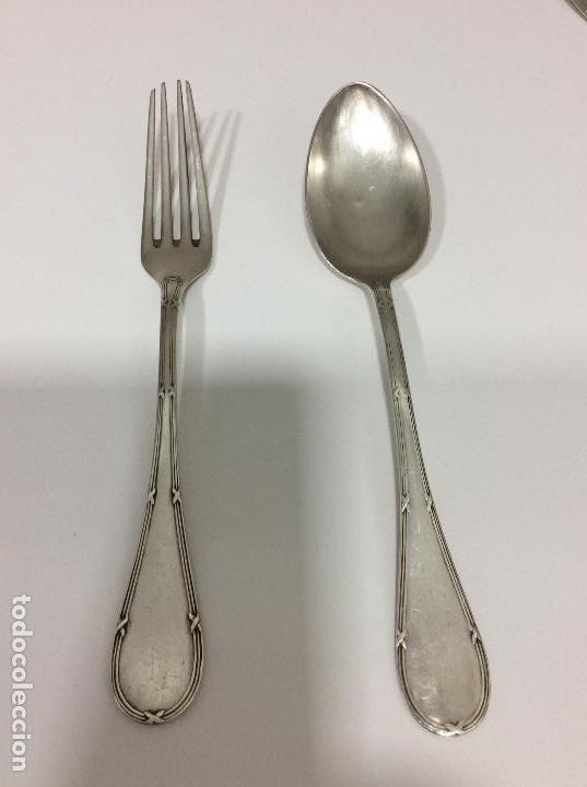 Antigüedades: Antiguo cubierto, cuchara y tenedor siglo XIX.-147 gms de peso - Foto 3 - 130584402