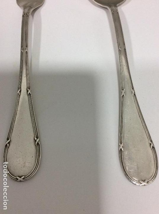 Antigüedades: Antiguo cubierto, cuchara y tenedor siglo XIX.-147 gms de peso - Foto 4 - 130584402