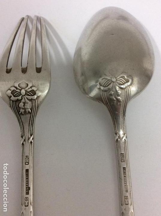 Antigüedades: Antiguo cubierto, cuchara y tenedor siglo XIX.-147 gms de peso - Foto 6 - 130584402