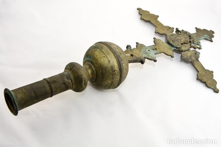 CRUZ DE PROCESION SIGLO XIX (Antigüedades - Religiosas - Cruces Antiguas)