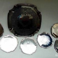 Antigüedades: SET DE BANDEJA Y POSAVASOS. Lote 160663710