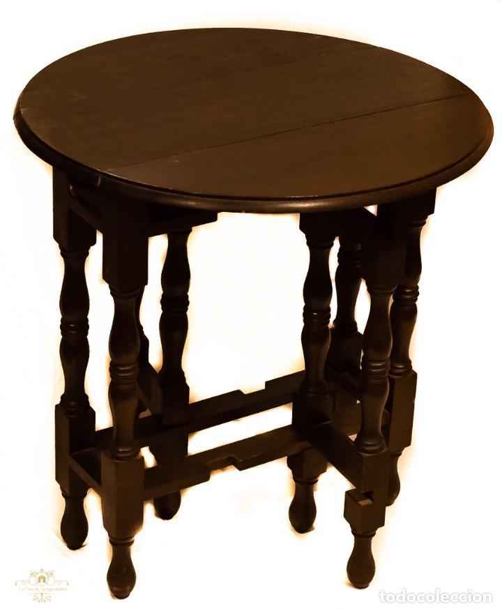 Antigüedades: Magnifica mesa auxiliar, de origen ingles, plegable y de alas, en perfecto estado de conservación. - Foto 3 - 160736610