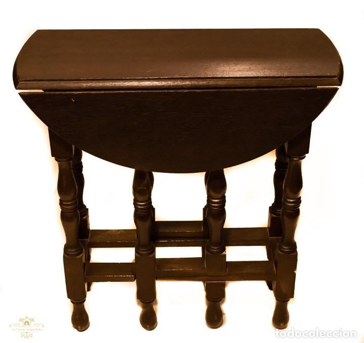Antigüedades: Magnifica mesa auxiliar, de origen ingles, plegable y de alas, en perfecto estado de conservación. - Foto 4 - 160736610