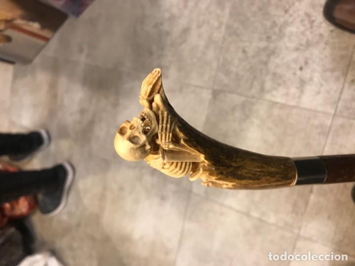 Antigüedades: EXTRAORDINARIO BASTON CON EMPUÑADURA CALAVERA EN HUESO - Foto 7 - 160740534