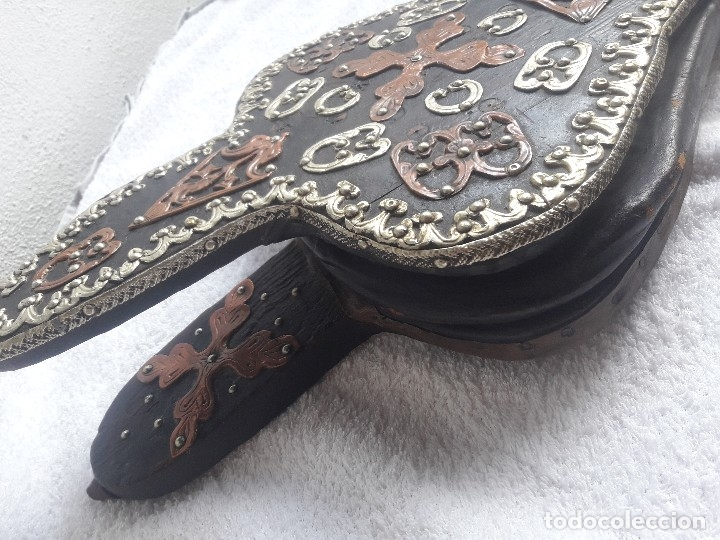 Antigüedades: Antiguo fuelle madera cuero cobre y latón - Foto 2 - 160742442