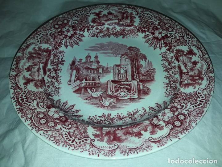 Antigüedades: Antiguo bello plato La Cartuja Pickman serie rosa Sevilla - Foto 3 - 160759310