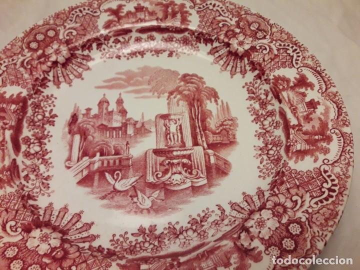 Antigüedades: Antiguo bello plato La Cartuja Pickman serie rosa Sevilla - Foto 4 - 160759310