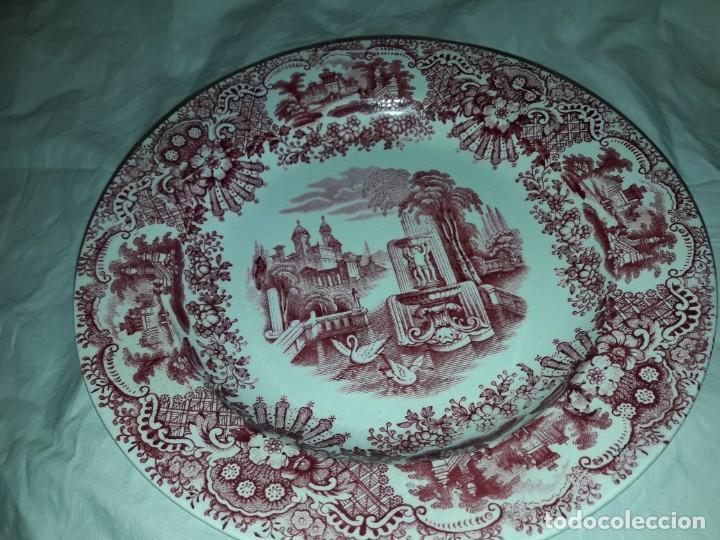 Antigüedades: Antiguo bello plato La Cartuja Pickman serie rosa Sevilla - Foto 6 - 160759310