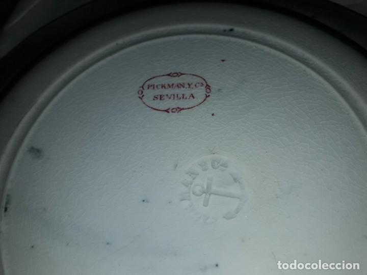 Antigüedades: Antiguo bello plato La Cartuja Pickman serie rosa Sevilla - Foto 8 - 160759310
