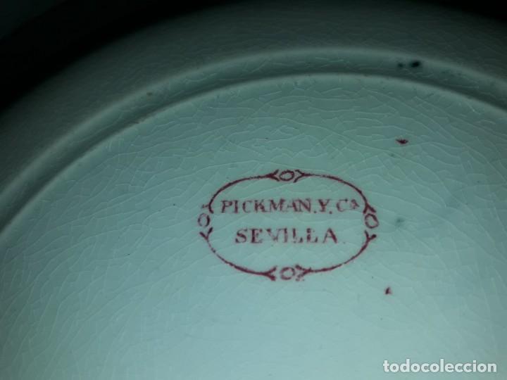 Antigüedades: Antiguo bello plato La Cartuja Pickman serie rosa Sevilla - Foto 9 - 160759310