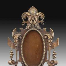 Antigüedades: MARCO DE MESA OVAL EN BRONCE. Lote 160763858