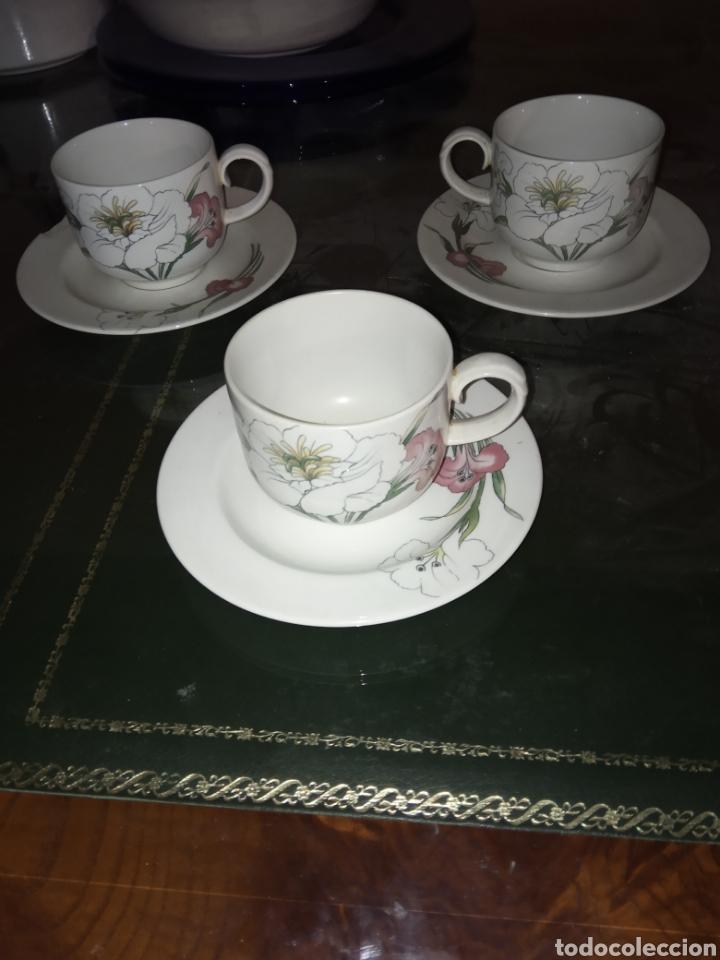 3 TAZAS CON PLATO CERAMICA SANTA CLARA. (Antigüedades - Porcelanas y Cerámicas - Santa Clara)