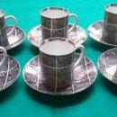Antigüedades: CASTRO PORCELANA JUEGO DE CAFÉ 6 TAZAS + 6 PLATOS SARGADELOS GALICIA. Lote 160840006