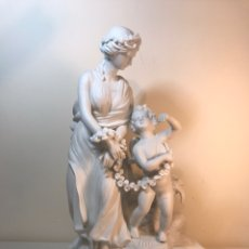 Antigüedades: FIGURA PORCELANA BISCUIT- ALEMANIA-MEISSEN- NINFA Y ÁNGEL DE PIE (1)-23X17X34 CM.. Lote 183959678
