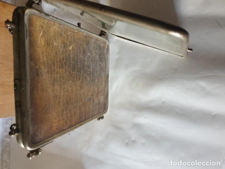 Antigüedades: TRIPLE ESPEJO PLATA Y PIEL DE TOCADOR - Foto 5 - 160850574