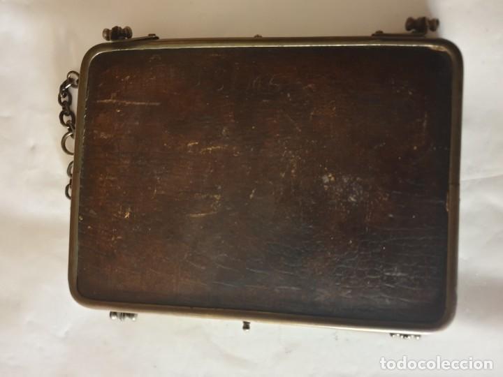 Antigüedades: TRIPLE ESPEJO PLATA Y PIEL DE TOCADOR - Foto 9 - 160850574