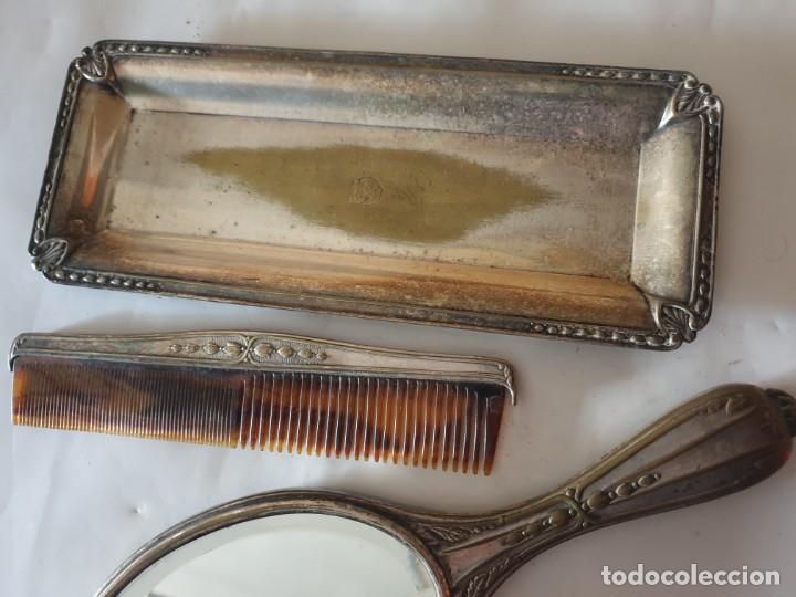 Antigüedades: JUEGO TOCADOR - ESPEJO Y BANDEJA PLATA - Foto 3 - 160854342