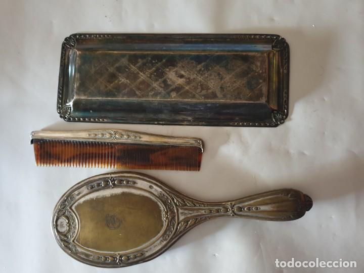 Antigüedades: JUEGO TOCADOR - ESPEJO Y BANDEJA PLATA - Foto 4 - 160854342