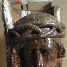 Antigüedades: CARA TALLADA DE JESÚS EN MADERA. Lote 160871226