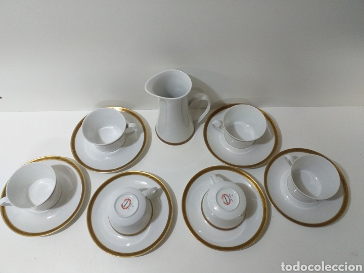 Antigüedades: juego de 6 servicios de cafe consomé mas lechera de porcelana de la marca Bidasoa - Foto 2 - 160873742