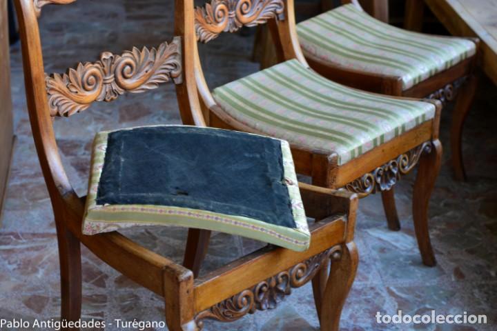 Antigüedades: Lote de 3 sillas isabelinas en madera tallada s.XIX - Estilo inglés, antiguas, sólida estructura - Foto 17 - 160877974