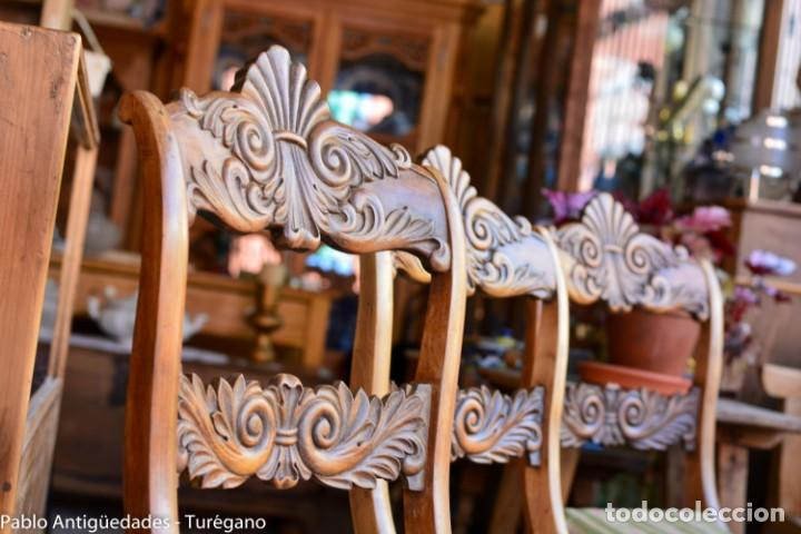Antigüedades: Lote de 3 sillas isabelinas en madera tallada s.XIX - Estilo inglés, antiguas, sólida estructura - Foto 2 - 160877974