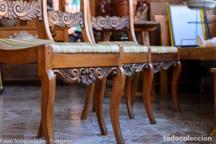 Antigüedades: Lote de 3 sillas isabelinas en madera tallada s.XIX - Estilo inglés, antiguas, sólida estructura - Foto 3 - 160877974