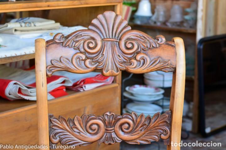 Antigüedades: Lote de 3 sillas isabelinas en madera tallada s.XIX - Estilo inglés, antiguas, sólida estructura - Foto 4 - 160877974